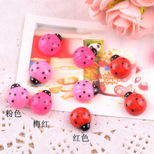100pcs/lot Kawaii Cute Resin Animal Ladybug Flat back Cabochon Craft Embellishment 16mm the red color is out of stock(China (Mainland))