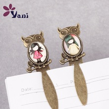 10pcs/lot Free shipping Bear shape Antique Metal Bookmark Cartoon Art Picture Bookmark with Glass Cabochon(China (Mainland))
