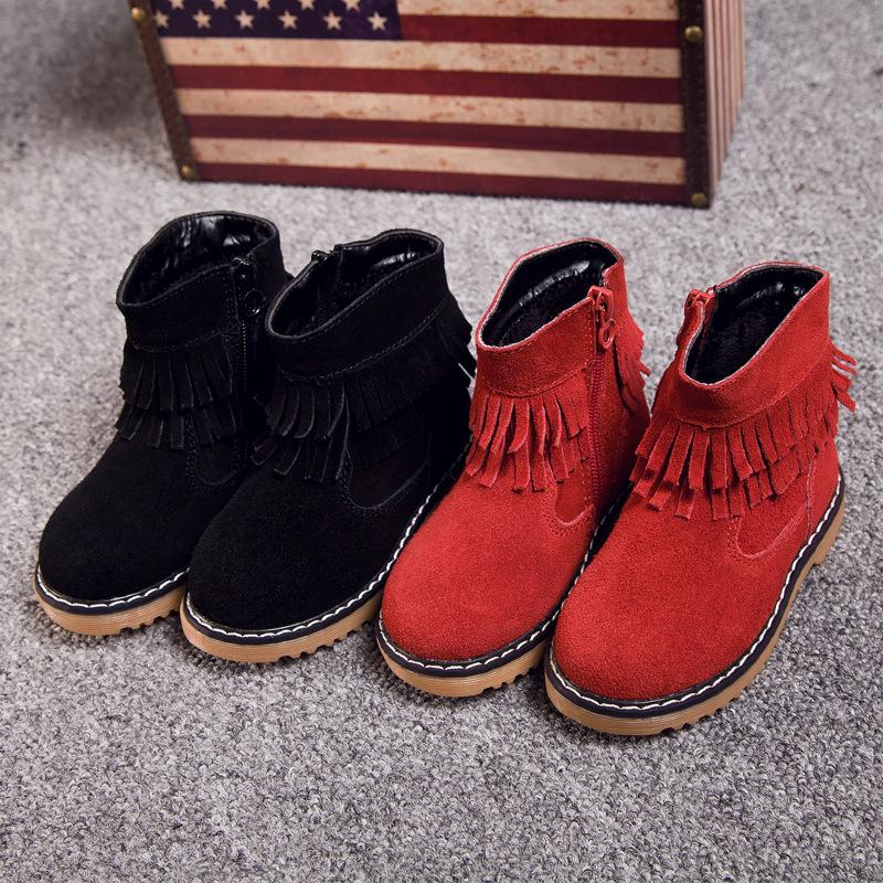 2016 Winter Tassel Genuine Leather Children's Boots Shoes Warm Fringe Toddler Girls Tassel Boots Fashion Kids Girl Martin Boots(China (Mainland))