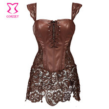Skirted Lace With Brown Leather Steampunk Corset Dress Gothic Clothing Sexy Korset Waist Training Corsets Plus Size Lingerie 6XL