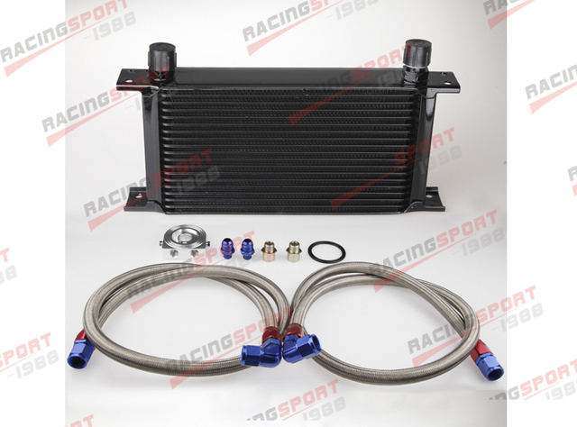 Universal Mocal style Engine transmission Oil Cooler kit 19 row 10AN-Black + filter Relocation Kit