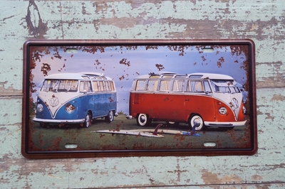 BLUE AND RED VW BUS Vintage Tin Sign Bar pub home Wall Decor Retro Metal Art Poster(China (Mainland))