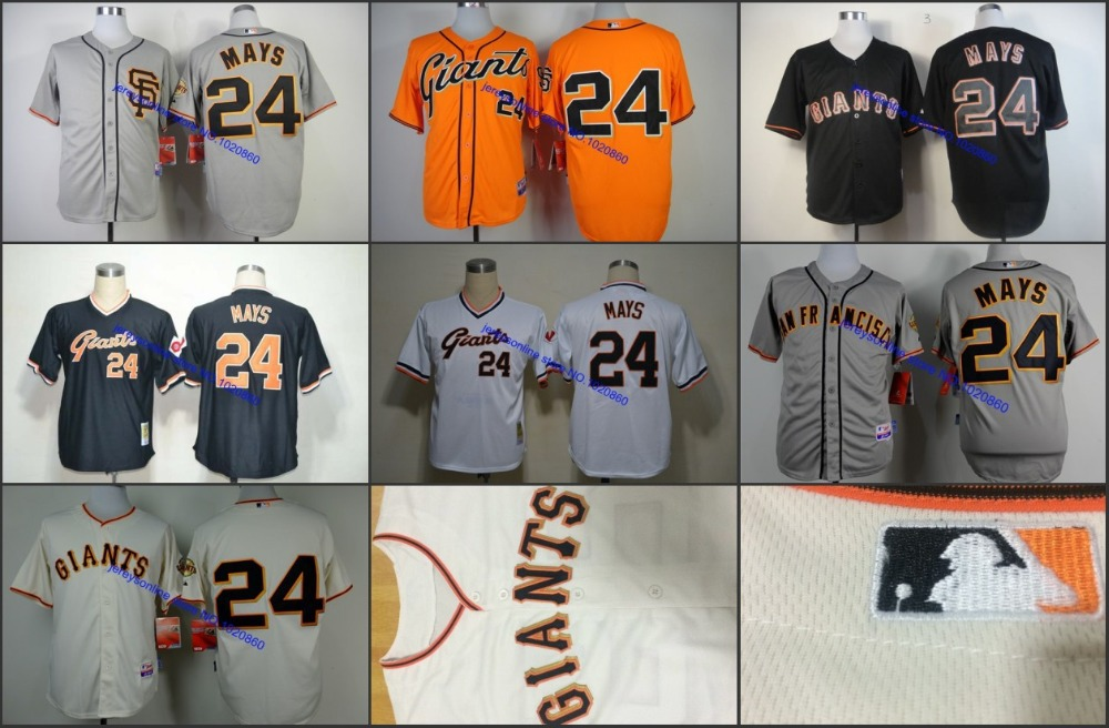 Throwback San Francisco Giants Jersey 24 willie mays Baseball Jersey Embroidery logos stitched size S-4XL<br><br>Aliexpress