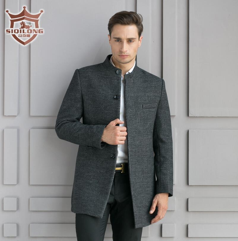 Genuine Autumn Winter Brand Men's Wool Jackets Men Business Woolen Coats Middle Long Wool & Blends Mens Warm Wool Coat