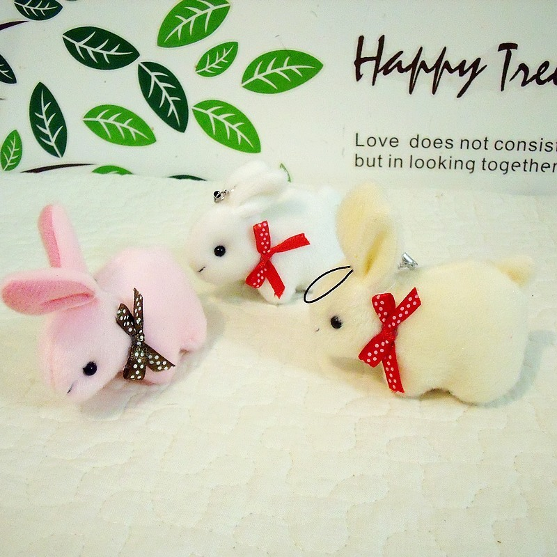 Min.order is $15 (mix order) Rabbit mobile phone pendant cartoon bouquet doll plush toy small gift Animals doll(China (Mainland))