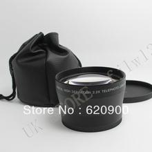 100% GUARANTEE  Black 62mm 2.2X TELE Telephoto Lens for Digital Camera + Front & Rear Cap(China (Mainland))