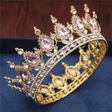 Kristal Vintage Royal King Queen Tiara dan Mahkota Pria/Wanita Kontes Prom Mahkota Hiasan Rambut Pernikahan Rambut Perhiasan Aksesoris(China)