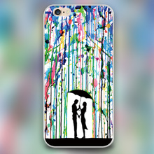 The lover in color rain Design black skin case cover cell mobile phone cases for iphone 4 4s 5 5c 5s 6 6s 6plus hard shell