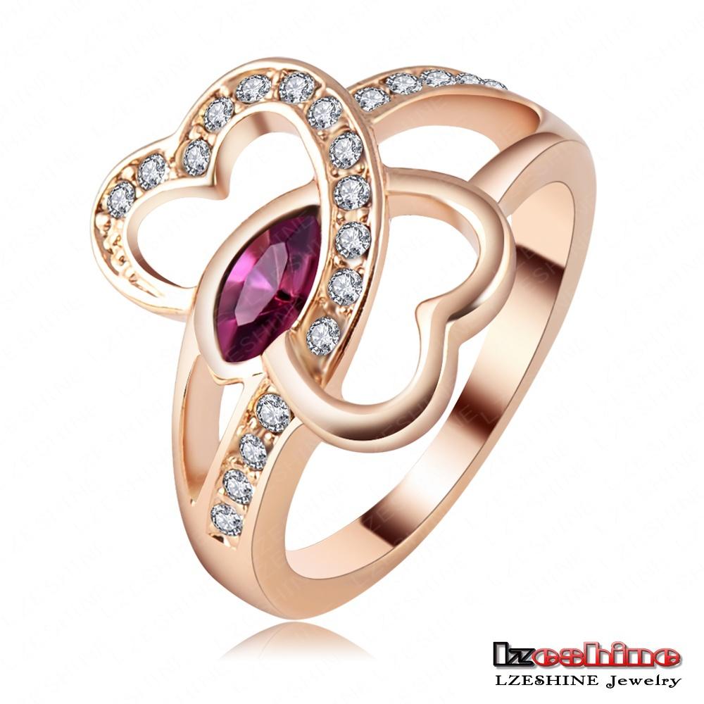 LZESHINE Brand Eternity Love Ring Real 18K Rose Gold Plt Double Heart Ring Inlay Genuine SWA
