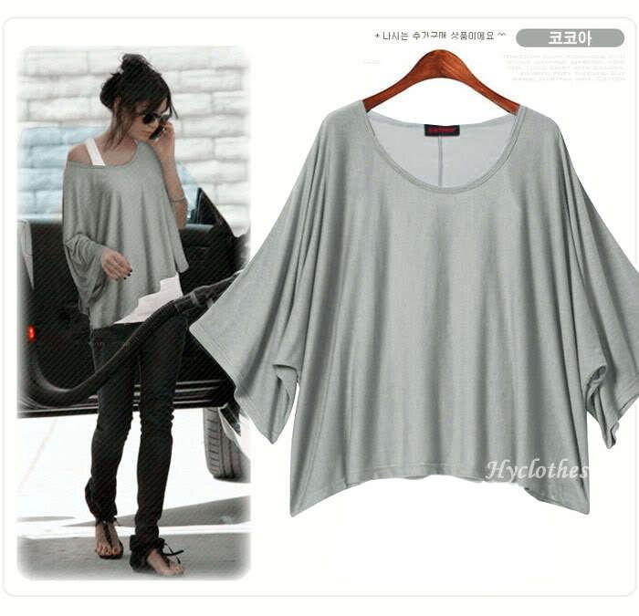 Ebay aliexpress selling loose bat sleeve tops code with S-XL T-shirt(China (Mainland))