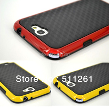 Black 3D Carbon Fiber Silicone Pattern Matte TPU+PC Double Layers Case Cover For Samsung Galaxy Note II 2 N7100 Phone Cases Bags(China (Mainland))