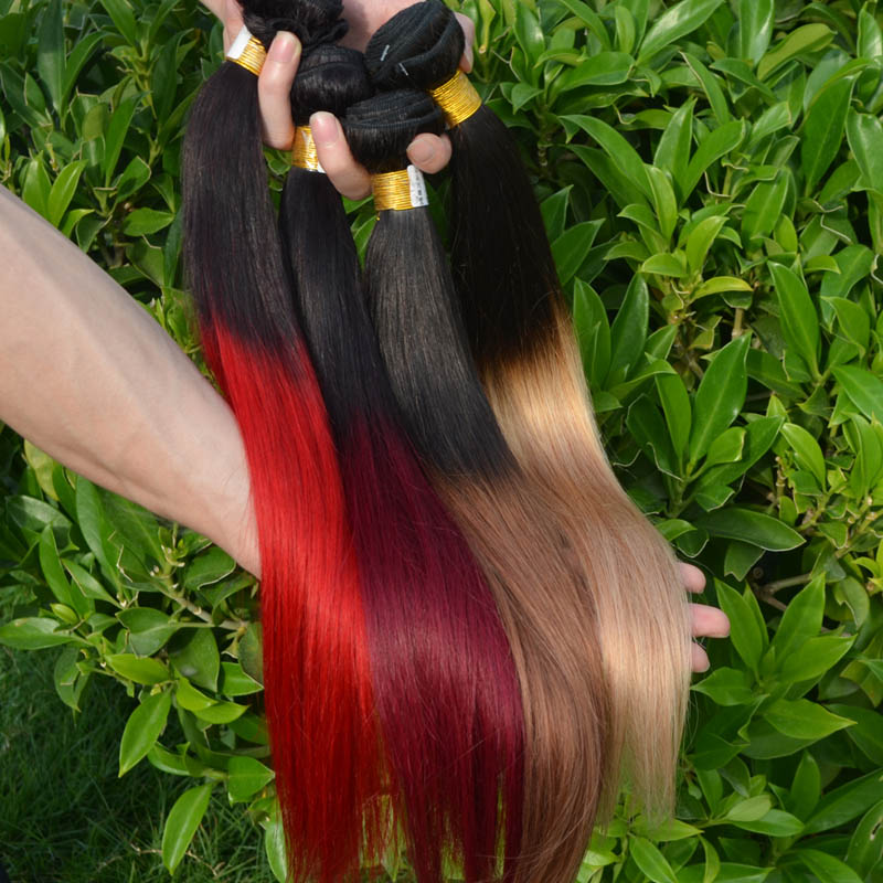 Ombre Brazilian Hair Straight Weave 3Pcs Lot Two Tone Ombre Hair Extensions Brazilian Virigin Hair 1B 27# red blonde Wholesale