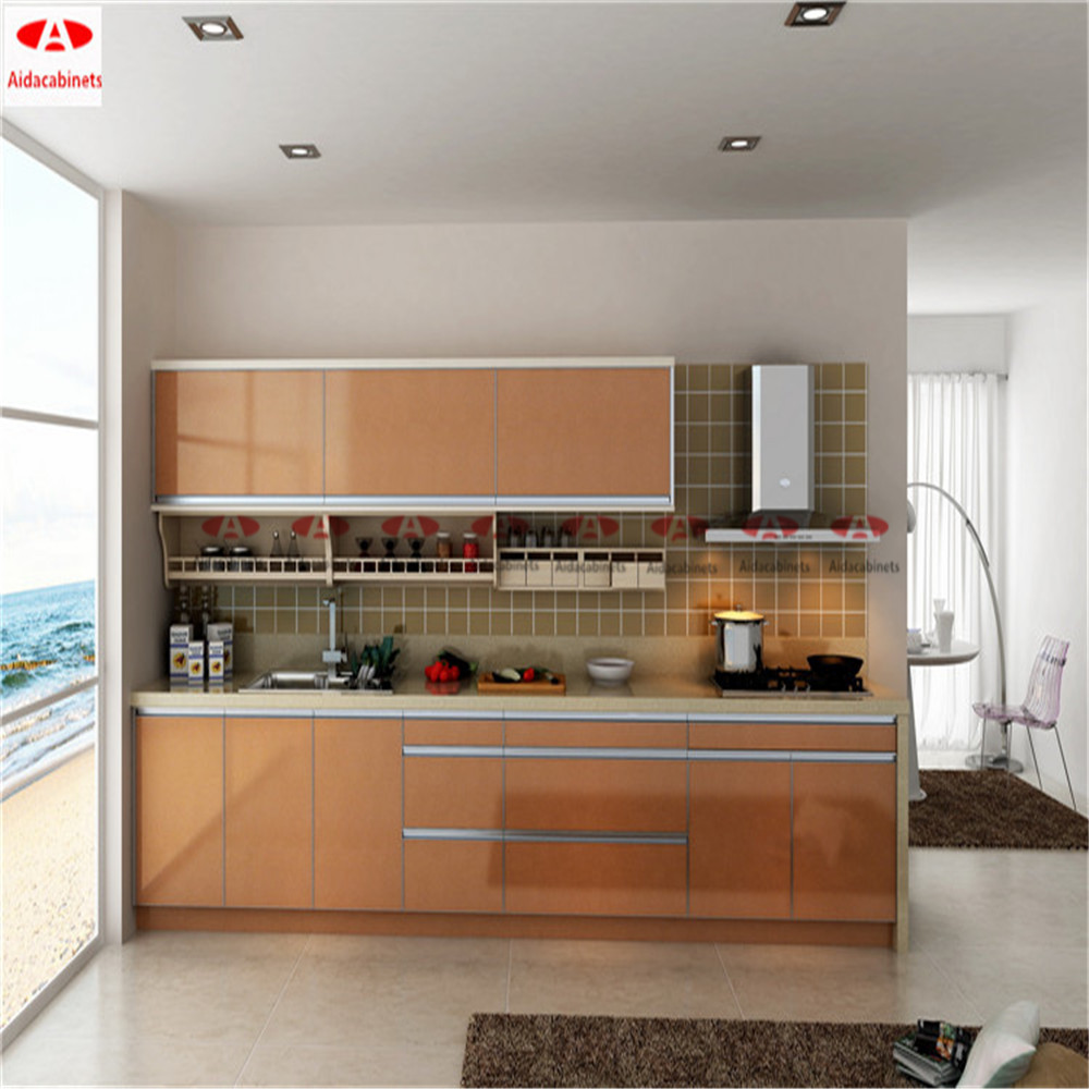 Modern Stainless Steel Display Kitchen Cabinets With
