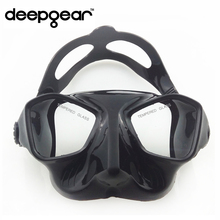 DEEPGEAR Extreme low volume spearfishing mask black silicon freediving mask top spearfishing and dive gears tempered scuba mask(China (Mainland))