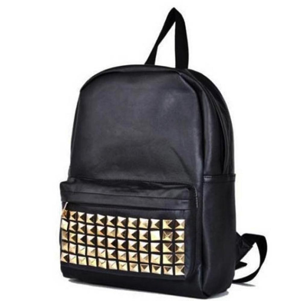 Bags for school satchel - Punk Rivet Black Leather Satchel For Men Fashion Teenager School Bags