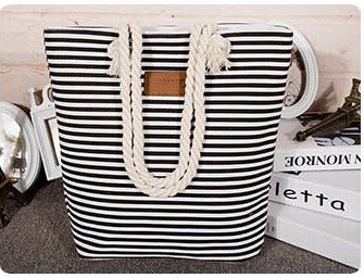 Leisure Summer Canvas Shopper Bag Striped Prints Beach Bags Tote Women Ladies Shoulder bag Casual Shopping Handbag Bolsa(China (Mainland))