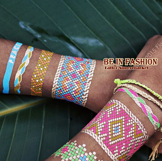 1pc Trendy Color feathers Jewel Body painting Metallic Tattoos Henna paste Arabic Indian Gold Flash body paint Tatto Glitter(China (Mainland))