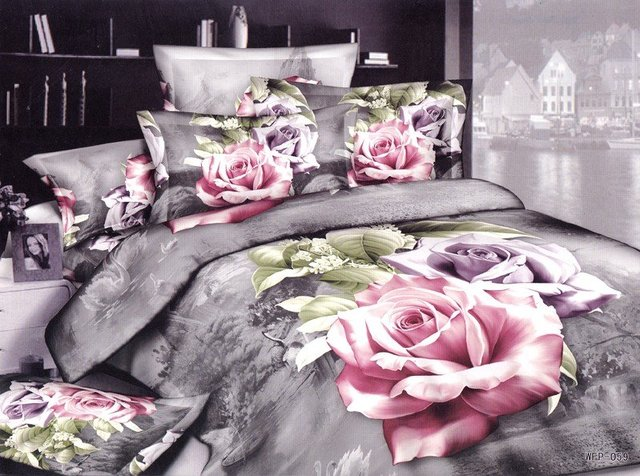 New hot Beautiful 100% Cotton 4pc Doona Duvet QUILT Cover Set bedding set Full / Queen/  King size 4pcs pink & Purple flower