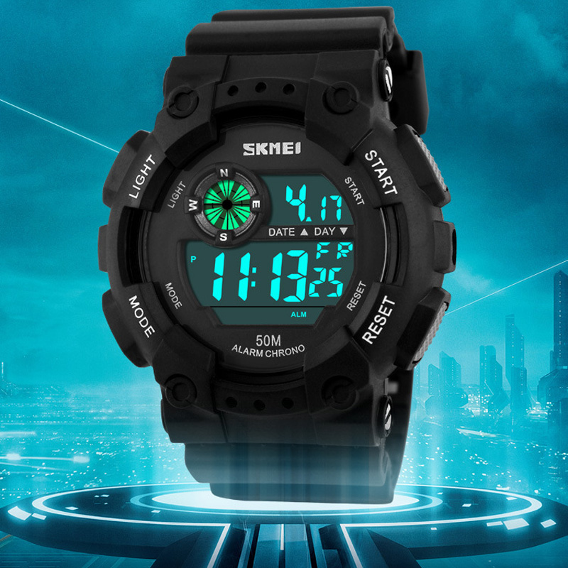 New SKMEI watches men dive 50m LED electronic digital-watch students outdoor sport watch PU strap relogio masculino luxury brand<br><br>Aliexpress