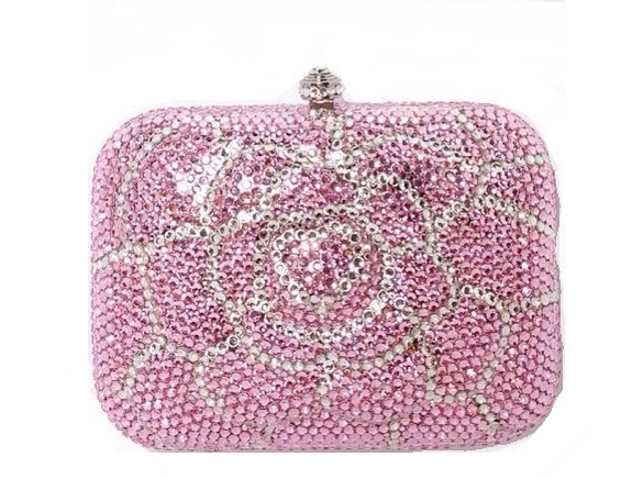 7707 Crystal Pink / White Floral Flower Lady Fashion Evening Bridal Party Night Metal purse handbag clutch bag IN FREE SHIPMENT<br><br>Aliexpress