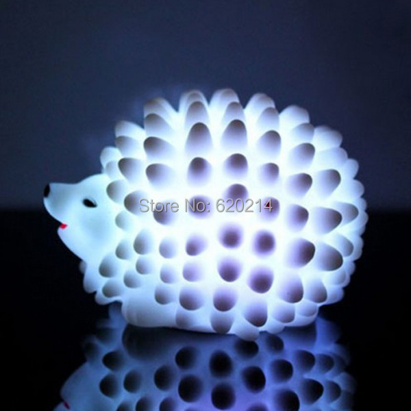 10pcs/lot New Color Change Hedgehog Nightlight LED Sleep Lights Baby Kid Room Lamp Party Wedding Christmas Decorative Toys CM063(China (Mainland))