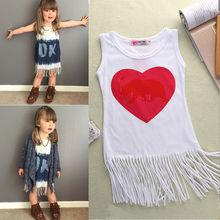 2016 New Cute Toddler Kids Baby Girl Clothes Party Dress Sleeveless Fringed LOVE Ok Printed Cotton Dresses 1-5Year(China (Mainland))
