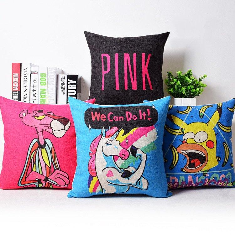 pink leopard cushion cover hot pink horse decorative throw pillowcase simpson capa de almofada cojines home decor(China (Mainland))