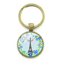 TAFREE Bonito Paris Torre Eiffel Corrente Chave Keychain Bronze Chapeado Pingente Cúpula de Vidro Imagem PR56 Jóias Para Mulheres Presente(China)