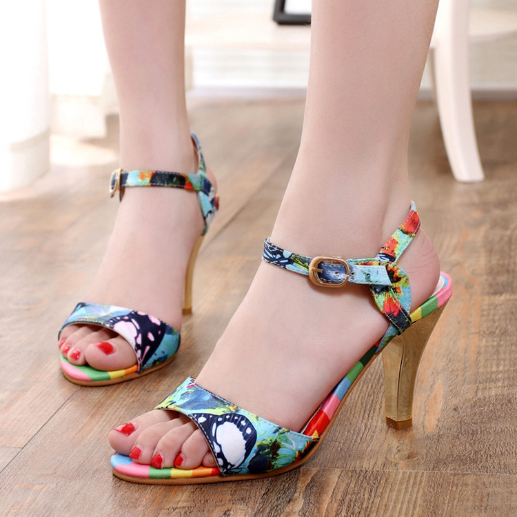 Free Shipping 2016 New Summer Women Shoes High Heel Sandals Sexy Pumps peep toe pump Printed Thick High Heel(China (Mainland))