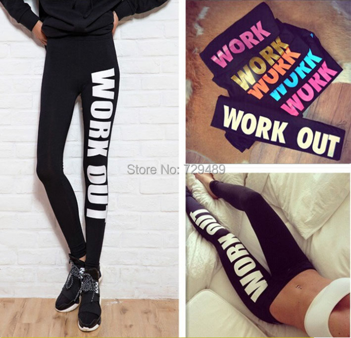 New Fashion Woman Clothing Work Out Letters Leggings Slim Sexy Sportswear Gym Sports Fitness Leggings Winter Pants For Woman(China (Mainland))