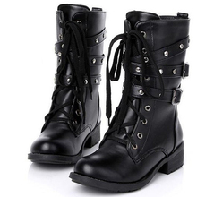 Women Motorcycle Goth Rock Boots