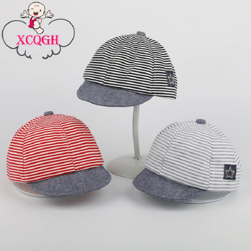 XCQGH Baby Hat For Boys Newborn Summer Cotton Casual Striped Soft Eaves Baseball Cap Newborn Baby Boy Beret Baby Girls Sun Hats(China (Mainland))