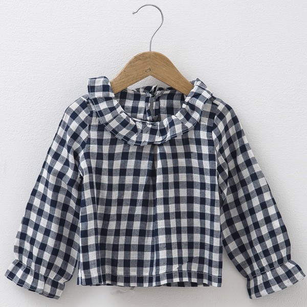 2016 baby girls plaid blouses kids cotton linen shirts kids lace O-neck blouse girls casual cute clothes