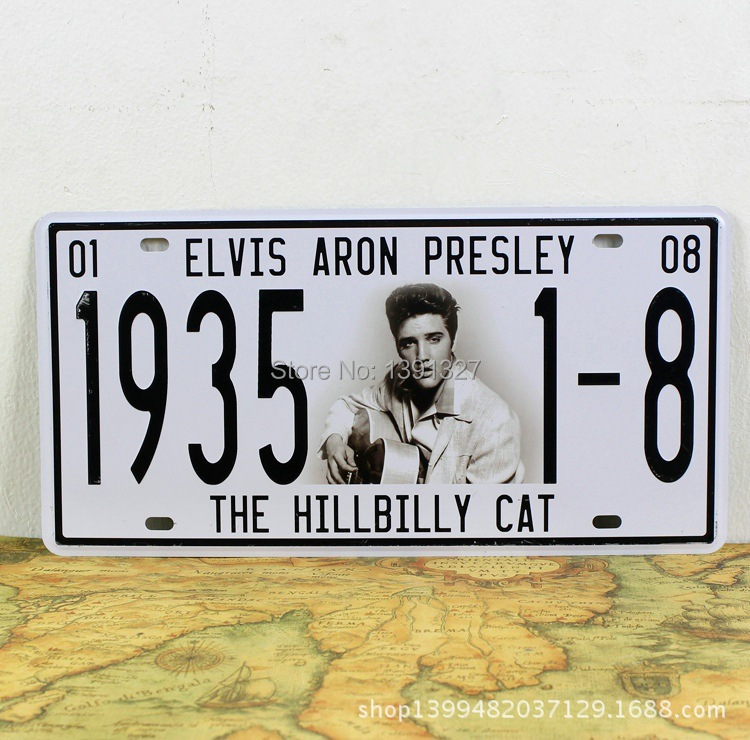 Free Shipping Elvis Aron Presley Car Number Plates