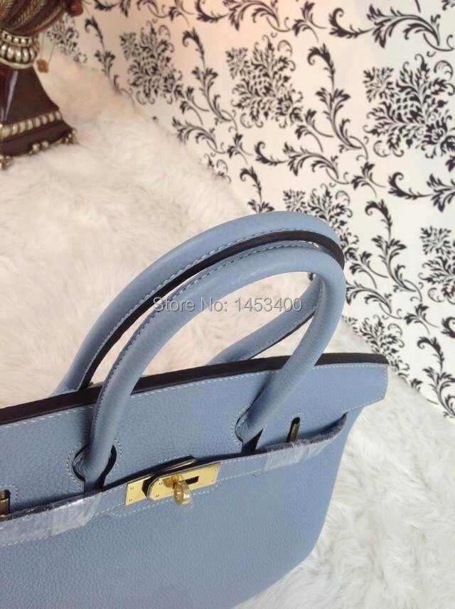 bolsas femininas 2014100% hand sewn Genuine leather bag Linen Blue birkiin togo 35 handbags - HERCULES high-end handmade custom shop store