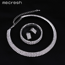 Mecresh 2017 Classic Circle Rhinestone Crystal Wedding Jewelry Sets African Jewelry Set Necklace Earrings Bracelet 3TL001(China (Mainland))