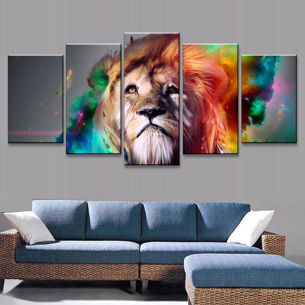 5 Pcs/Set Animal Wall Art Painting Colorful Lion Artistic Print On Canvas Fashion Animal Oil Art Prints For Home Decor(China (Mainland))