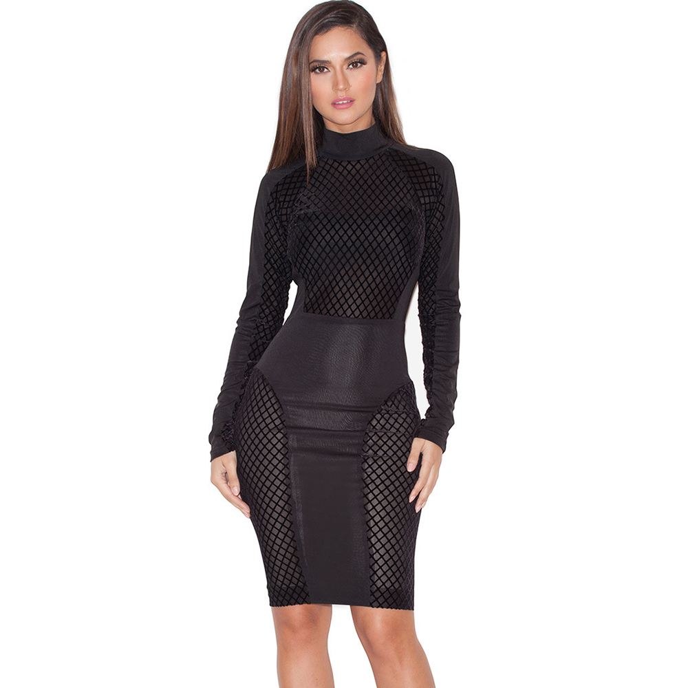Black Mesh Sexy Club Wear Wome Party Dresses New Arrival Winter 2016 Long Sleeve White Stretchy Bodycon Bandage Dress(China (Mainland))