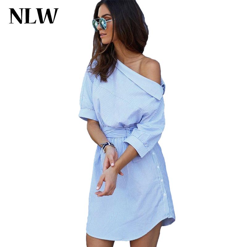NLW Apparel 2016 Blue Elegant Striped Slash Neck Women Dress Sashes Loose Casul Mini Summer Sexy Beach Shirt Dresses Vestidos(China (Mainland))