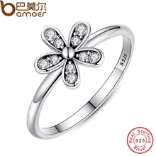 Buy BAMOER Two Colors Fashion Elegant Original 925 Sterling Silver Dazzling Daisy Flower Ring Clear CZ Wedding Jewelry PA7123 for $4.94 in AliExpress store