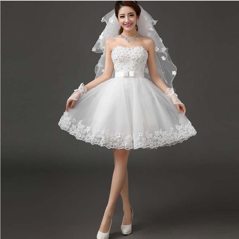 Buy Strapless Short Wedding Dress 2014