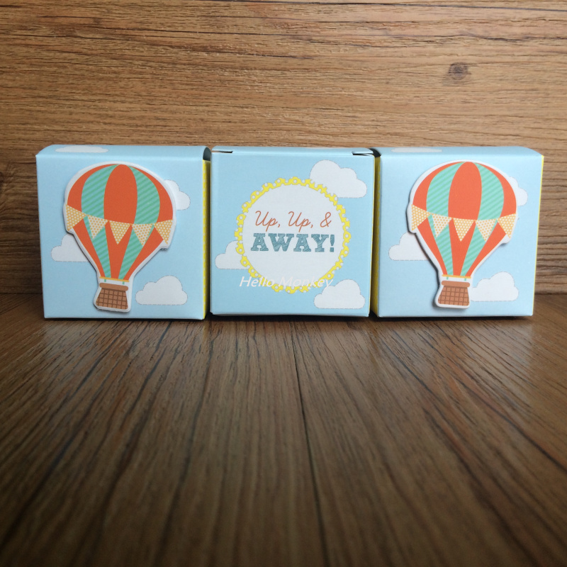 "50pcs/lot ""Up, Up and Away"" Hot Air Balloon Candy Box Christening Baby Shower favor chocolate boxes Wedding Favors And Gift(China (Mainland))"