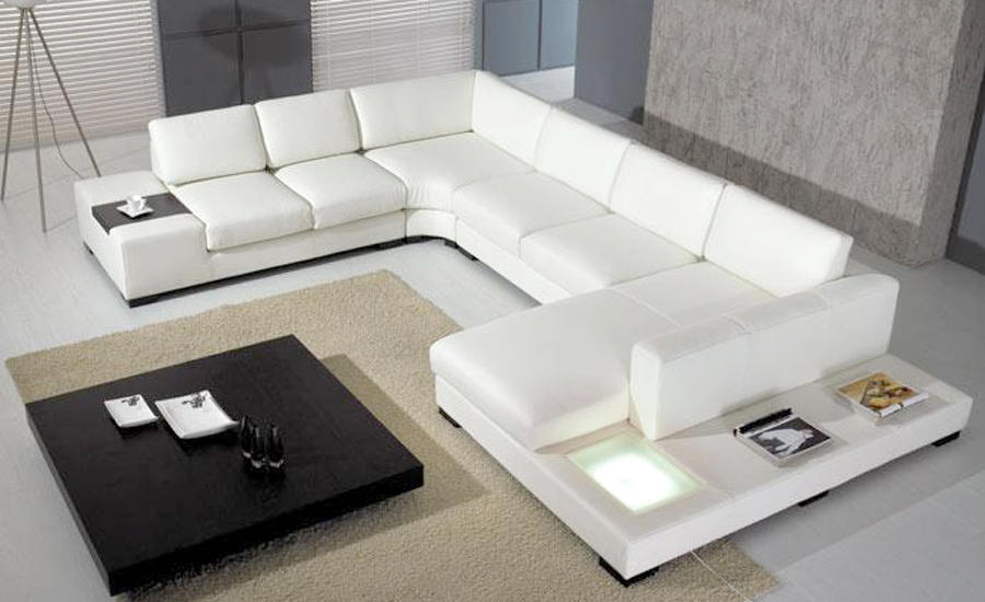 European laest designer sofa large size u shaped white - What size table lamp for living room ...