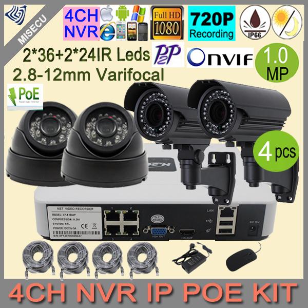 Out/Indoor 2.8-12mm Varifocal lens ip Camera kit 4CH 720p NVR kit 1.0MP POE P2P 1280*720 4pcs IR Surveillance home cctv camera<br><br>Aliexpress