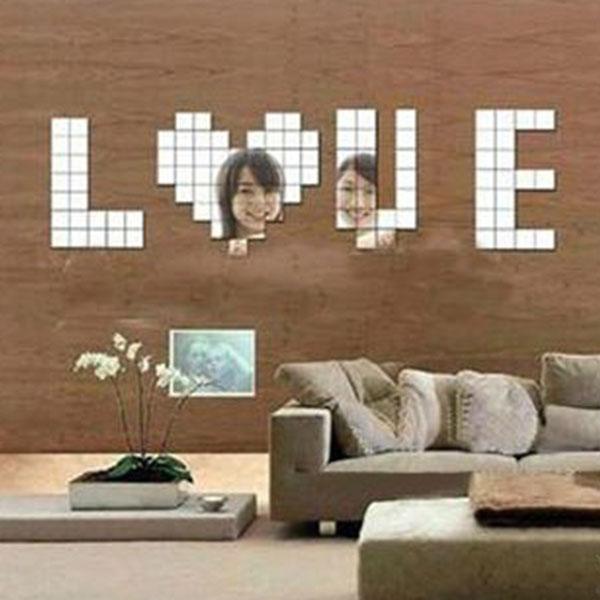 New Fashion 100pcs 2x2cm Bling Bling Acrylic 3D Wall Sticker Mosaic Mirror Effect Sofa Room Home Decor(China (Mainland))