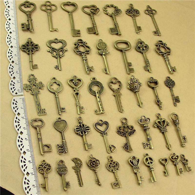 Wholesale 40 pcs Vintage Charms Mixed Keys Pendant Antique bronze Fit Bracelets Necklace DIY Metal Jewelry Making