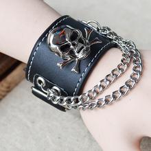Skull Ghost   leather         one direction charm secret bracelets men for women bangles   steampunk rock vintage fine jewelry