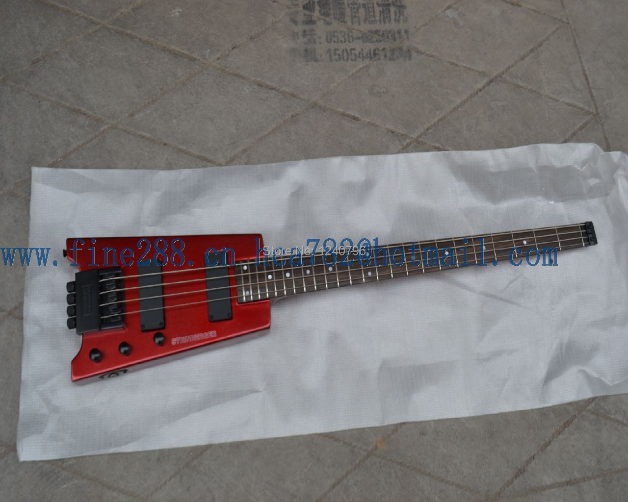 free shipping wholesale and retail new burgundy headless electric bass guitar F-1612+softcase(China (Mainland))