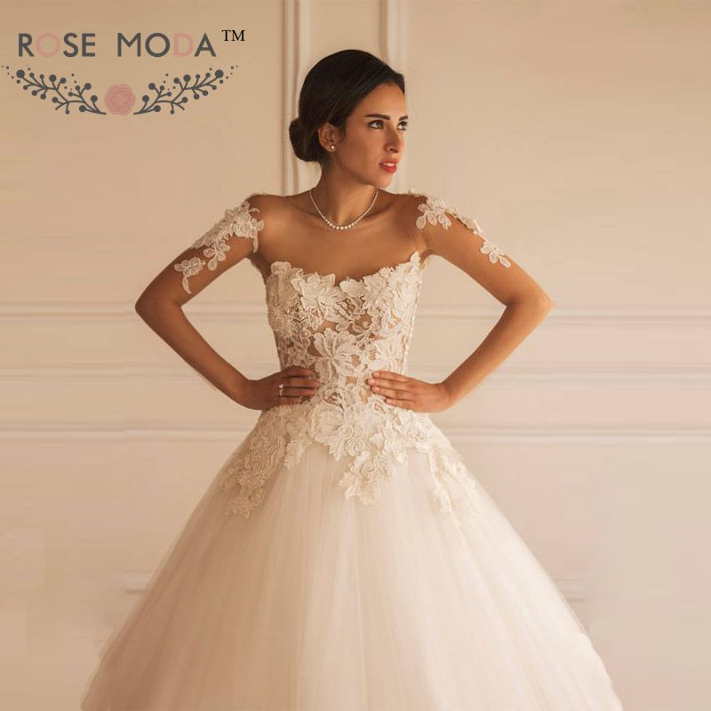Buy elegant long sheer sleeves lace ball for Wedding dress with see through lace bodice