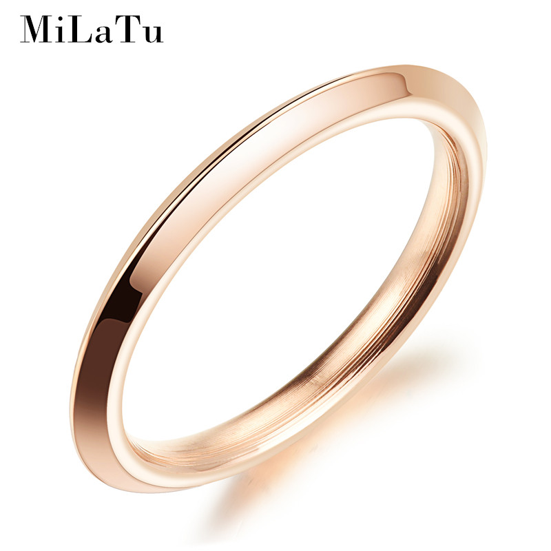 milatu 2mm wide simple wedding rings for women rose gold color stainless steel party rings female - Simple Wedding Ring